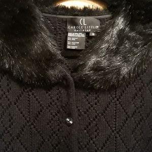 Carole Little fur collar sweater